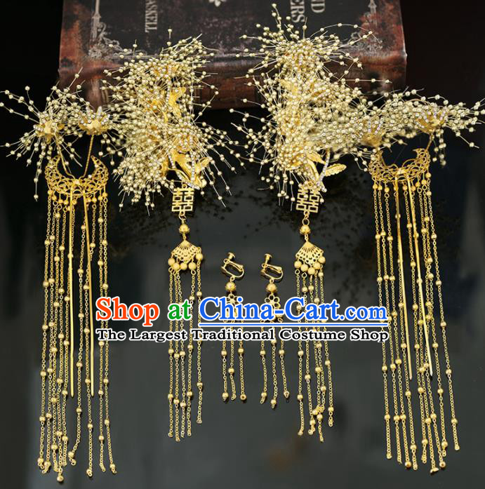 Handmade Chinese Ancient Wedding Hairpins Golden Hair Claws Traditional Bride Hanfu Hair Accessories for Women