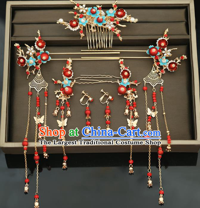 Handmade Chinese Ancient Wedding Hairpins Red Beads Hair Comb Traditional Bride Hanfu Hair Accessories for Women