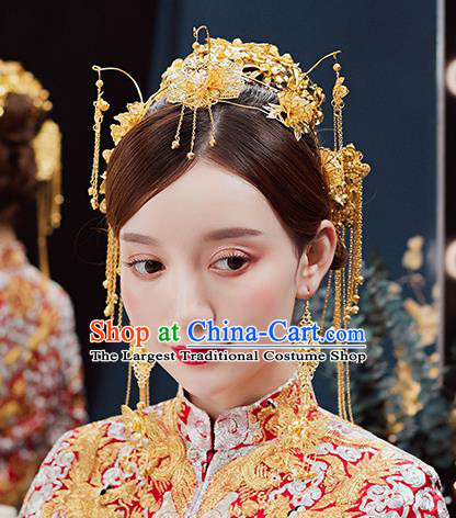Handmade Chinese Wedding Golden Hair Crown Tassel Hairpins Ancient Traditional Hanfu Hair Accessories for Women