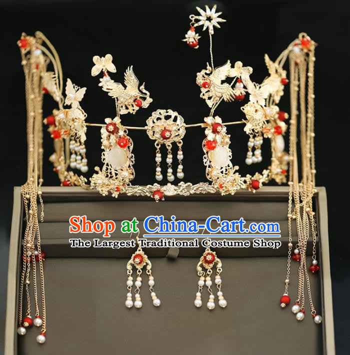 Handmade Chinese Ancient Wedding Tassel Hairpins Cranes Phoenix Coronet Traditional Bride Hanfu Hair Accessories for Women