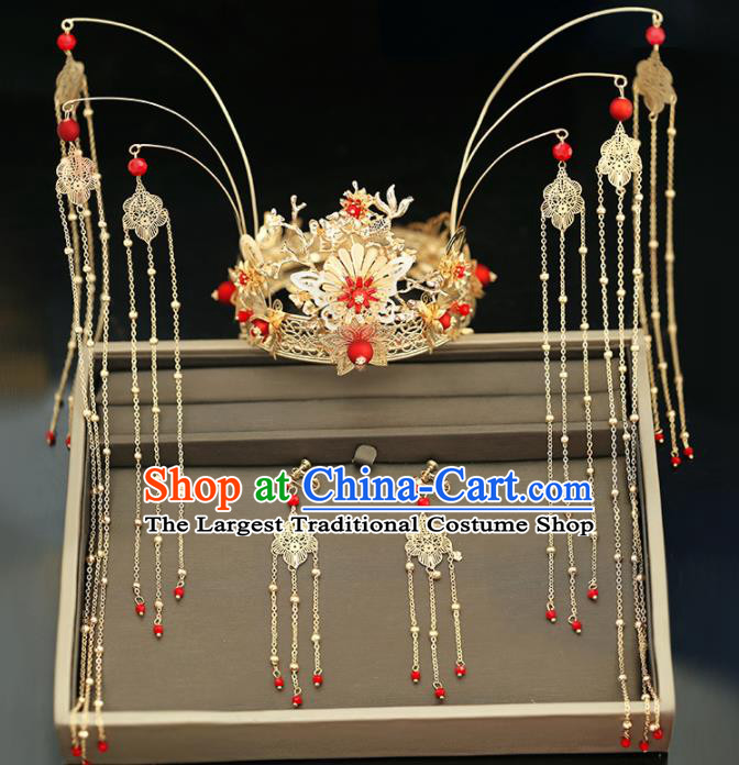 Handmade Chinese Ancient Wedding Tassel Hairpins Golden Phoenix Coronet Traditional Bride Hanfu Hair Accessories for Women