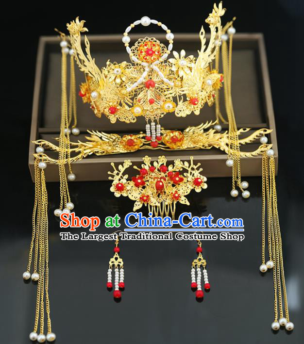 Handmade Chinese Ancient Wedding Hairpins Tassel Step Shake Pearls Phoenix Coronet Traditional Bride Hanfu Hair Accessories for Women