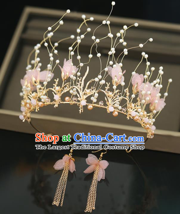 Top Grade Handmade Baroque Princess Pink Flowers Royal Crown Wedding Bride Hair Accessories for Women