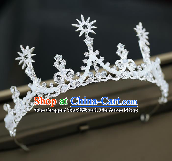 Top Grade Handmade Baroque Princess Beads Royal Crown Wedding Bride Hair Accessories for Women
