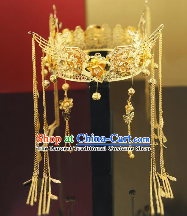 Handmade Chinese Ancient Wedding Tassel Golden Phoenix Coronet Hairpins Traditional Bride Hanfu Hair Accessories for Women