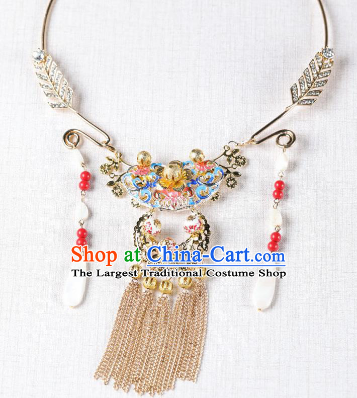Chinese Handmade Hanfu Blueing Tassel Necklace Traditional Ancient Princess Necklet Jewelry Accessories for Women