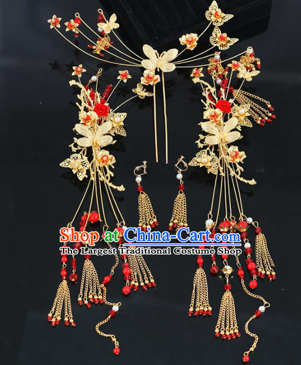 Handmade Chinese Ancient Wedding Bride Butterfly Hair Clips Tassel Hairpins Traditional Hanfu Hair Accessories for Women