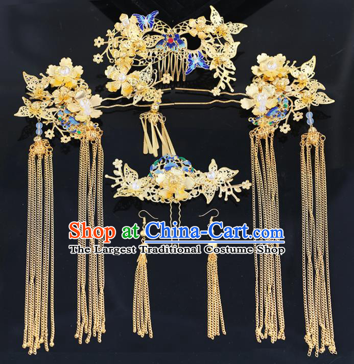 Handmade Chinese Ancient Wedding Bride Blueing Butterfly Hair Combs Tassel Hairpins Traditional Hanfu Hair Accessories for Women