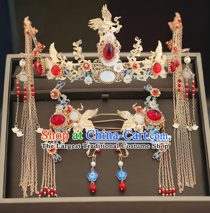 Handmade Chinese Ancient Wedding Blueing Agate Phoenix Coronet Tassel Hairpins Traditional Bride Hanfu Hair Accessories for Women