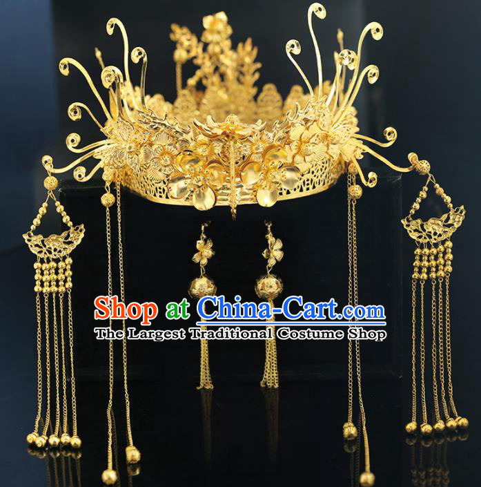 Handmade Chinese Ancient Wedding Golden Phoenix Coronet Tassel Hairpins Traditional Bride Hanfu Hair Accessories for Women