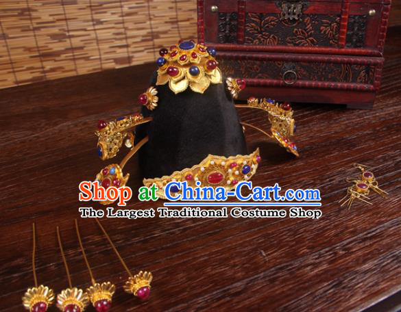 Handmade Chinese Ming Dynasty Wedding Hair Crown Hairpins Ancient Queen Traditional Hanfu Hair Accessories for Women
