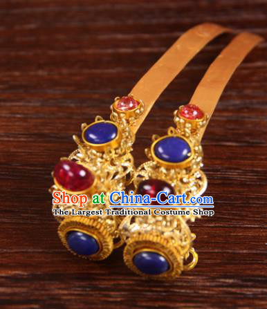 Handmade Chinese Ming Dynasty Palace Queen Golden Hairpins Ancient Traditional Hanfu Hair Accessories for Women