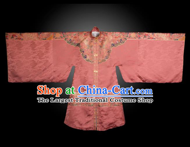 Chinese Ancient Royal Princess Embroidered Pink Brocade Robe Traditional Ming Dynasty Imperial Consort Historical Costume for Women