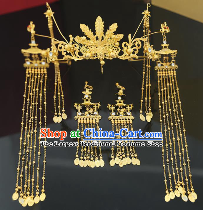 Handmade Chinese Ancient Wedding Bride Golden Phoenix Coronet Tassel Hairpins Traditional Hanfu Hair Accessories for Women