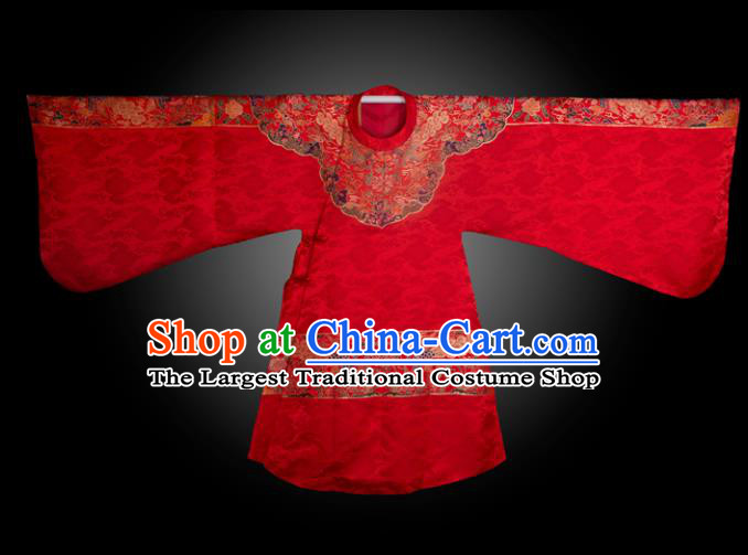 Chinese Ancient Royal Princess Embroidered Red Brocade Robe Traditional Ming Dynasty Imperial Consort Historical Costume for Women