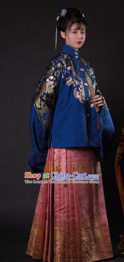 Chinese Ancient Princess Blue Brocade Blouse and Pink Skirt Traditional Ming Dynasty Imperial Consort Historical Costume for Women