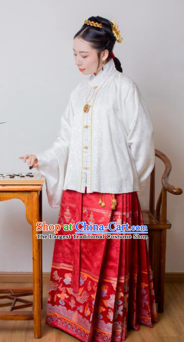 Chinese Ancient Princess White Brocade Blouse and Red Skirt Traditional Ming Dynasty Imperial Consort Historical Costume for Women