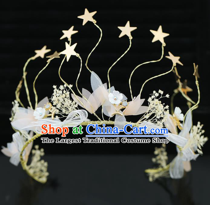 Top Grade Handmade Baroque Princess Golden Stars Royal Crown Wedding Bride Hair Accessories for Women