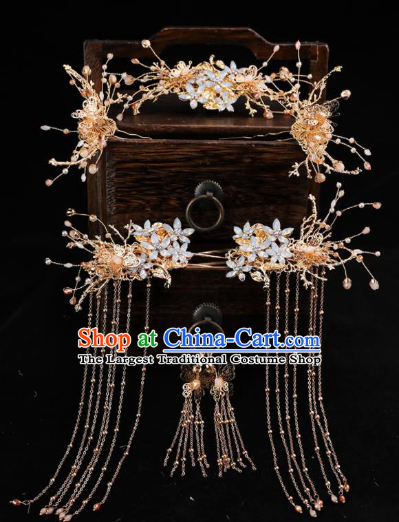 Handmade Chinese Wedding Hairpins Opal Hair Crown Ancient Traditional Hanfu Hair Accessories for Women