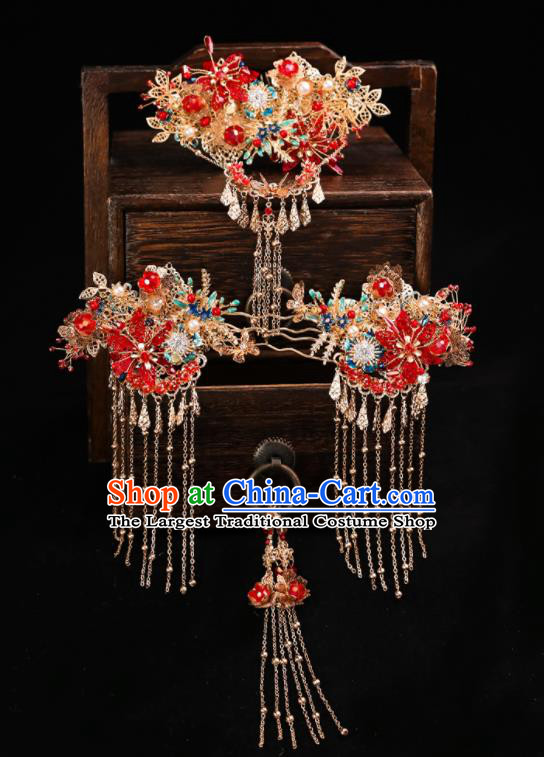 Handmade Chinese Wedding Red Flowers Hair Comb Hairpins Ancient Traditional Hanfu Hair Accessories for Women