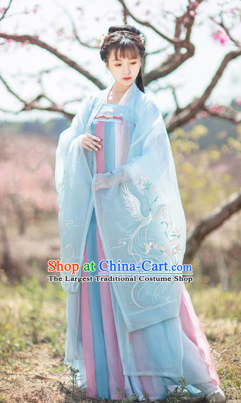 Chinese Tang Dynasty Nobility Lady Embroidered Blue Hanfu Dress Traditional Ancient Court Princess Historical Costume for Women