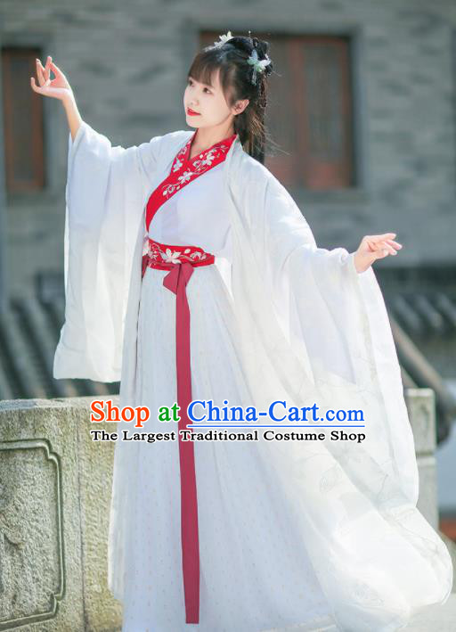 Chinese Jin Dynasty Imperial Concubine Embroidered White Hanfu Dress Traditional Ancient Court Historical Costume for Women