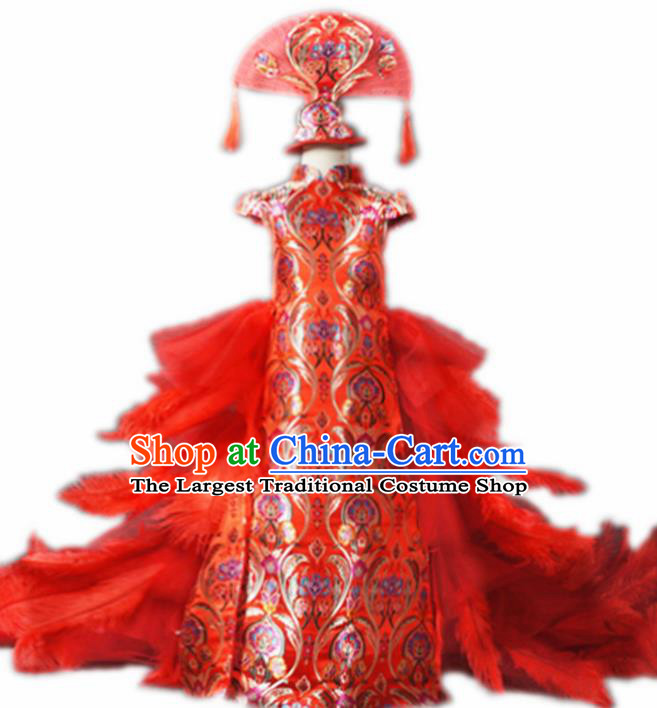 Chinese Stage Performance Red Feather Trailing Qipao Full Dress Catwalks Modern Fancywork Dance Costume for Kids