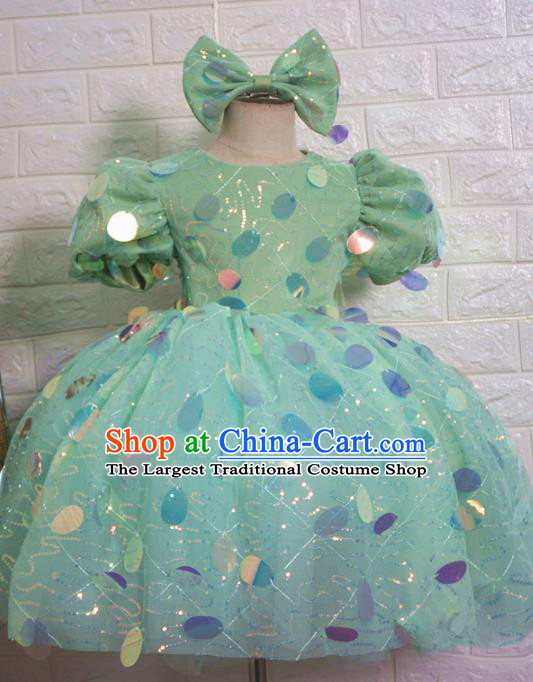 Top Grade Stage Show Dance Costume Catwalks Court Princess Green Bubble Full Dress for Kids