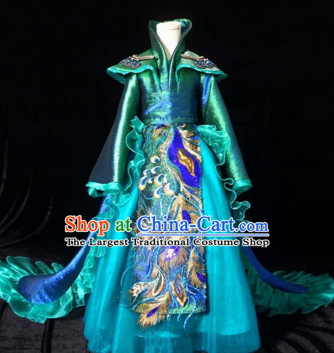 Top Grade Chinese Stage Show Costume Catwalks Dance Embroidered Green Trailing Full Dress for Kids