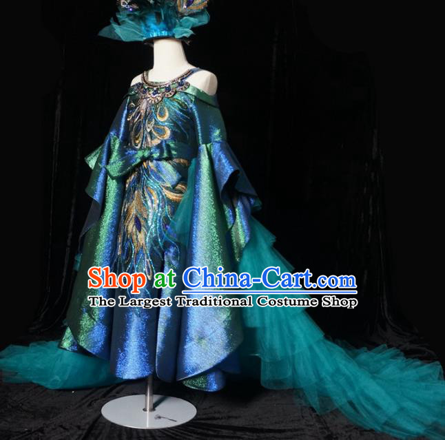 Top Grade Stage Show Dance Peacock Trailing Full Dress Catwalks Court Princess Costume for Kids