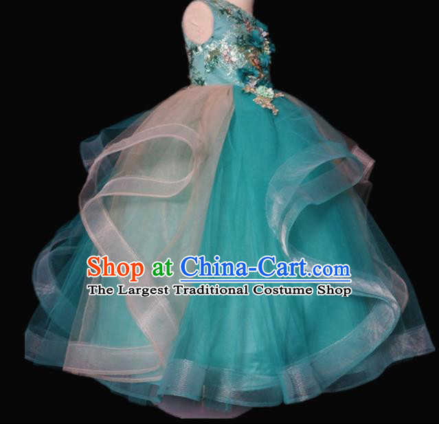 Top Grade Stage Show Dance Green Veil Full Dress Catwalks Court Princess Costume for Kids