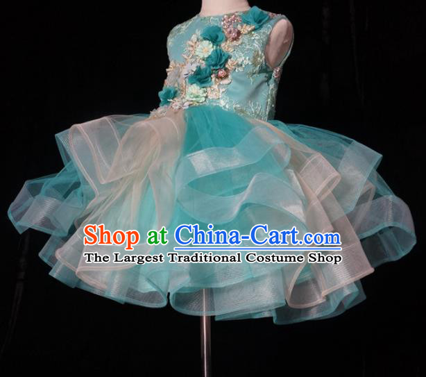 Top Grade Stage Show Dance Green Veil Short Full Dress Catwalks Court Princess Costume for Kids