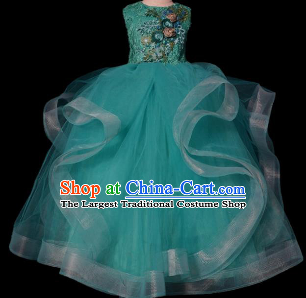 Top Grade Stage Show Compere Embroidered Green Veil Dress Catwalks Court Princess Dance Costume for Kids