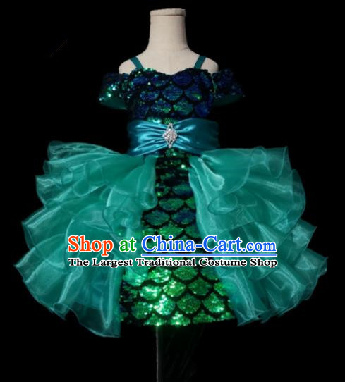 Top Grade Stage Show Compere Green Veil Bubble Dress Catwalks Court Princess Dance Costume for Kids