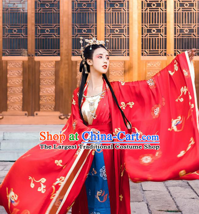 Chinese Tang Dynasty Wedding Embroidered Red Hanfu Dress Traditional Ancient Court Princess Historical Costume for Women