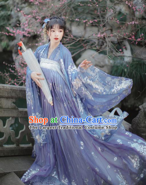 Traditional Chinese Tang Dynasty Palace Princess Historical Costume Traditional Ancient Peri Goddess Blue Hanfu Dress for Women
