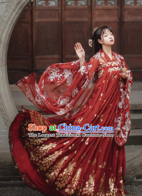 Traditional Chinese Tang Dynasty Court Princess Wedding Historical Costume Traditional Ancient Peri Goddess Red Hanfu Dress for Women