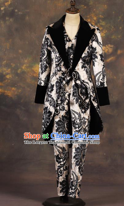 Professional Boys Catwalks Suits Stage Show Clothing Modern Fancywork Compere Costume for Kids