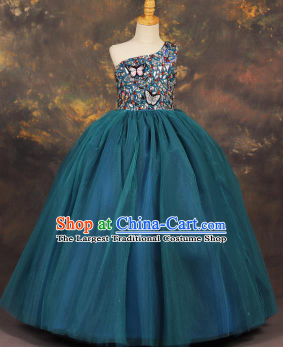 Professional Catwalks Stage Show Peacock Blue Dress Modern Fancywork Compere Court Princess Dance Costume for Kids