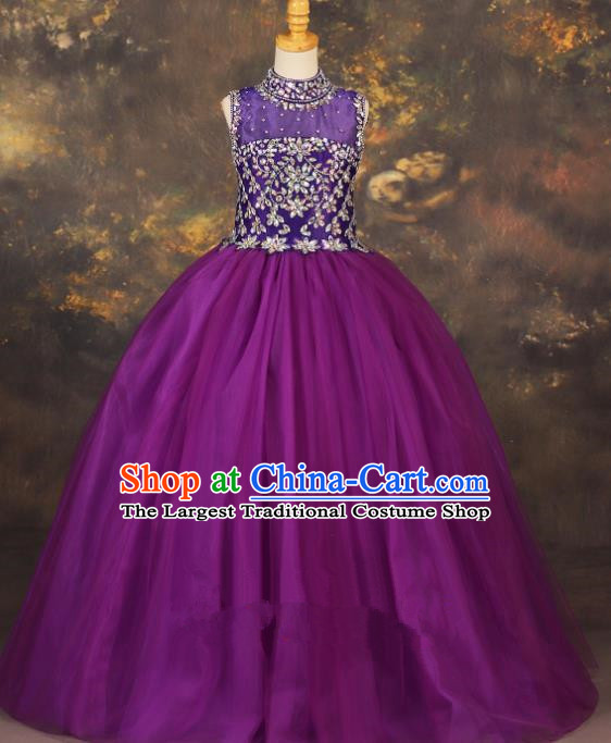 Professional Catwalks Stage Show Purple Dress Modern Fancywork Compere Court Princess Dance Costume for Kids