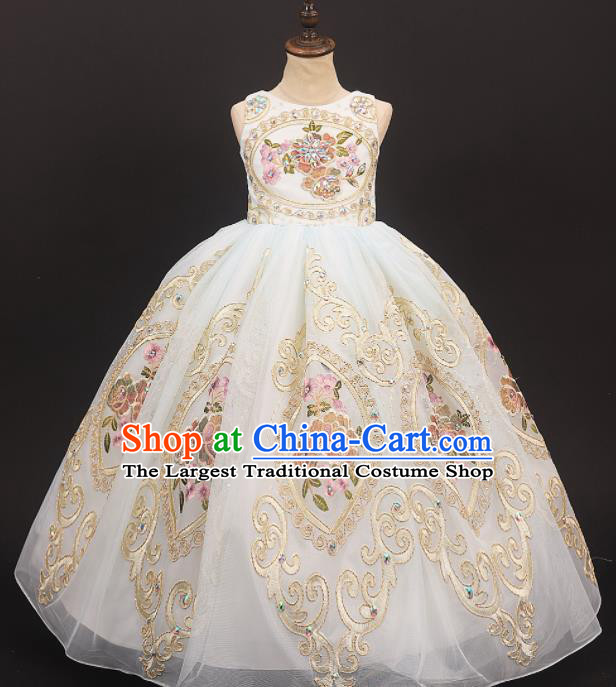 Professional Catwalks Stage Show Waltz Dance Embroidered Dress Modern Fancywork Compere Court Princess Costume for Kids