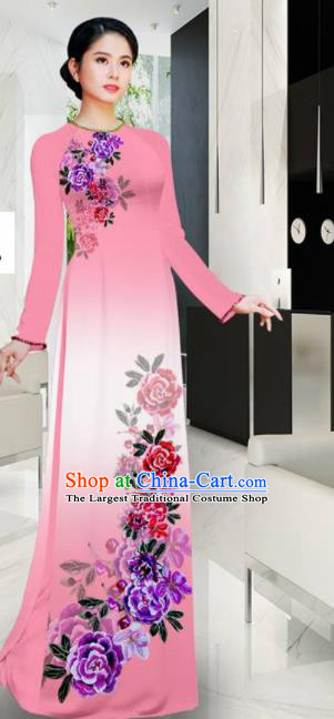 Asian Printing Roses Pink Aodai Cheongsam Vietnam Traditional Costume Vietnamese Bride Classical Qipao Dress for Women