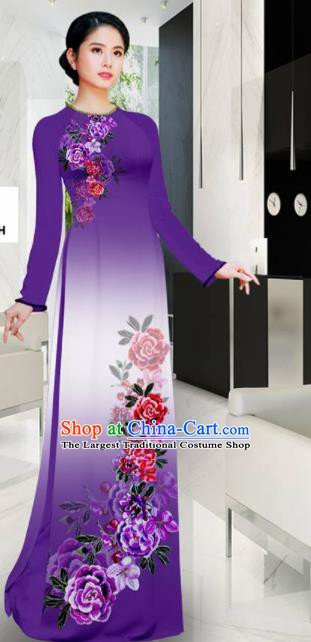 Asian Printing Roses Purple Aodai Cheongsam Vietnam Traditional Costume Vietnamese Bride Classical Qipao Dress for Women