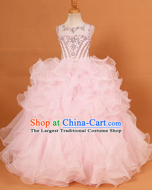 Professional Girls Compere Waltz Dance Pink Full Dress Modern Fancywork Catwalks Stage Show Costume for Kids