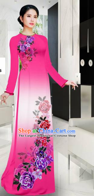 Asian Printing Roses Rosy Aodai Cheongsam Vietnam Traditional Costume Vietnamese Bride Classical Qipao Dress for Women