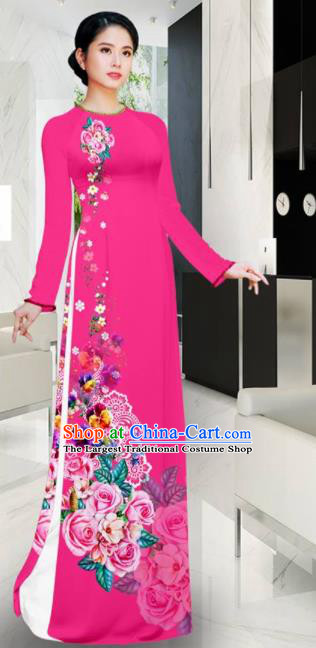 Asian Vietnam Printing Roses Rosy Aodai Cheongsam Traditional Costume Vietnamese Bride Classical Qipao Dress for Women