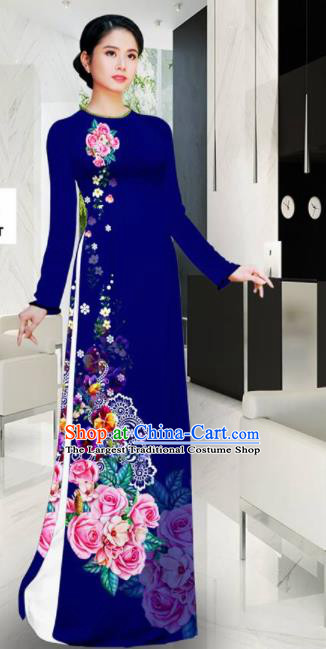 Asian Vietnam Printing Roses Navy Aodai Cheongsam Traditional Costume Vietnamese Bride Classical Qipao Dress for Women