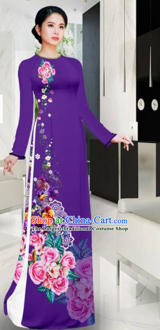 Asian Vietnam Printing Roses Purple Aodai Cheongsam Traditional Costume Vietnamese Bride Classical Qipao Dress for Women