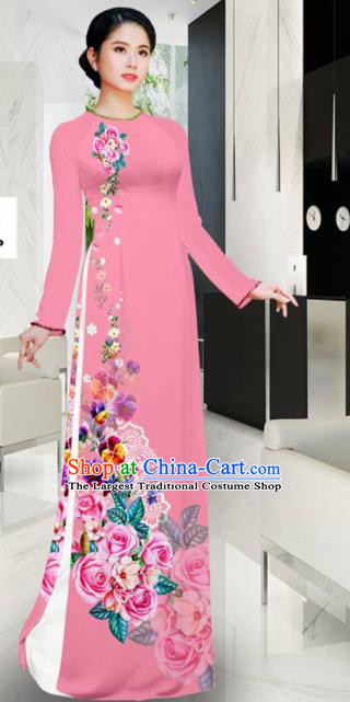 Asian Vietnam Printing Roses Pink Aodai Cheongsam Traditional Costume Vietnamese Bride Classical Qipao Dress for Women