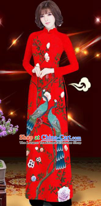 Asian Vietnam Printing Peacock Rose Red Aodai Cheongsam Traditional Costume Vietnamese Bride Classical Qipao Dress for Women